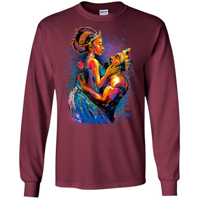 BigProStore African American T-Shirt For Women Men Pro Black People Afro Girl Rock G240 Gildan LS Ultra Cotton T-Shirt / Maroon / S T-shirt
