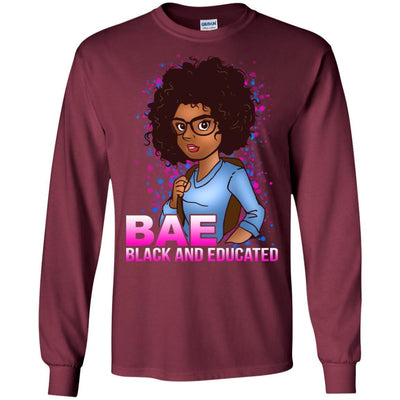 BigProStore Bae Black And Educated Afro Girl Magic T-Shirt For Melanin Women Pride G240 Gildan LS Ultra Cotton T-Shirt / Maroon / S T-shirt