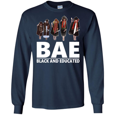 BigProStore Bae Black And Educated T-Shirt African Clothing For Melanin Afro Women G240 Gildan LS Ultra Cotton T-Shirt / Navy / S T-shirt