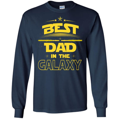 BigProStore Best Dad In The Galaxy T-Shirt Cool Father's Day Gift For Men Brother G240 Gildan LS Ultra Cotton T-Shirt / Navy / S T-shirt