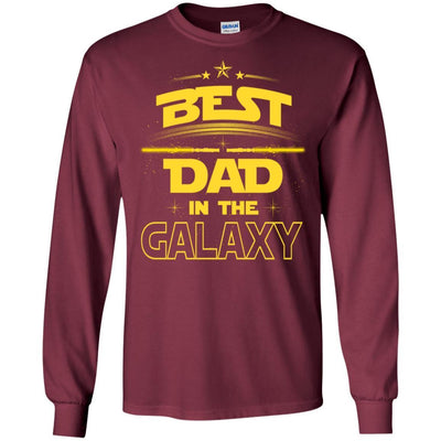 BigProStore Best Dad In The Galaxy T-Shirt Cool Father's Day Gift For Men Brother G240 Gildan LS Ultra Cotton T-Shirt / Maroon / S T-shirt