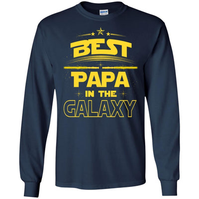 BigProStore Best Papa In The Galaxy T-Shirt Father's Day Unique Men Grandpa Gifts G240 Gildan LS Ultra Cotton T-Shirt / Navy / S T-shirt