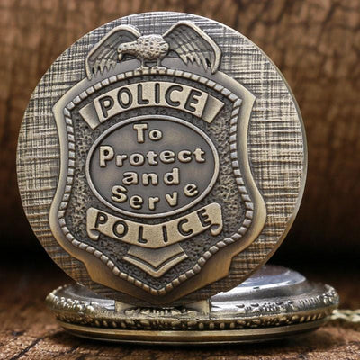 BigProStore Vintage Bronze Police Pocket Watch To Protect and Serve Thin Blue Line Pride Pocket Watch