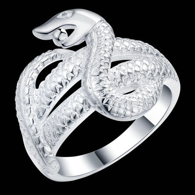 BigProStore Snake Ring Fashion Silver Plated Snake Jewelry Men Women Gift Ideas Ring