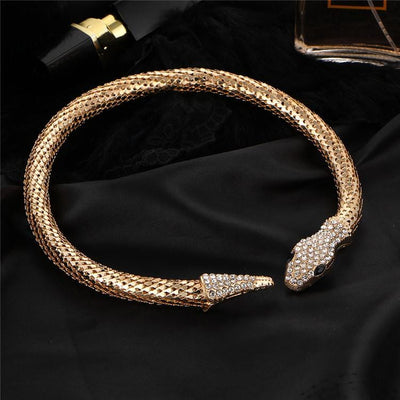 BigProStore Trendy Rhinestone Crystal Snake Necklace Women Silver Gold Snake Jewelry Necklace