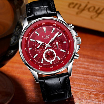 BigProStore Red Firefighter Watch Casual Leather Strap Waterproof Firemen Wristwatch Red Wristwatch