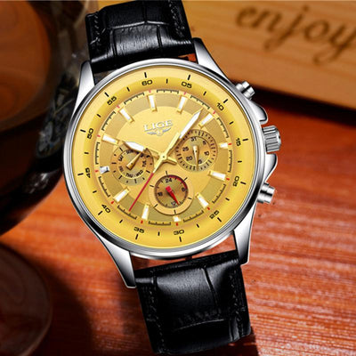 BigProStore Red Firefighter Watch Casual Leather Strap Waterproof Firemen Wristwatch Gold Wristwatch