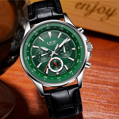 BigProStore Red Firefighter Watch Casual Leather Strap Waterproof Firemen Wristwatch Green Wristwatch