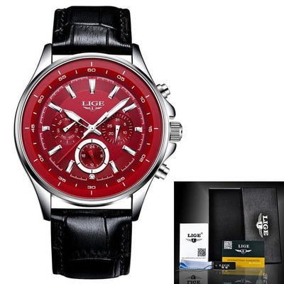 BigProStore Red Firefighter Watch Casual Leather Strap Waterproof Firemen Wristwatch Wristwatch