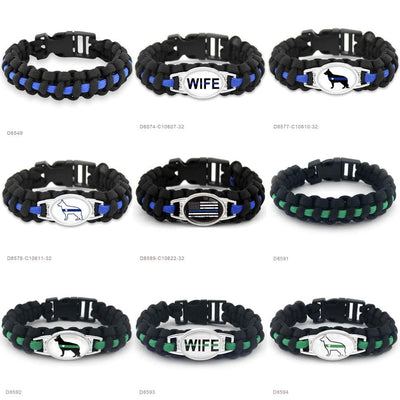 BigProStore Survival Paracord Thin Blue Line Bracelet Police Law Enforcement Gift