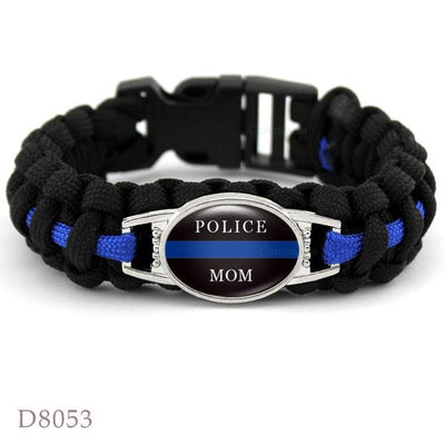 BigProStore Survival Paracord Thin Blue Line Bracelet Police Law Enforcement Gift Option#6-D8053