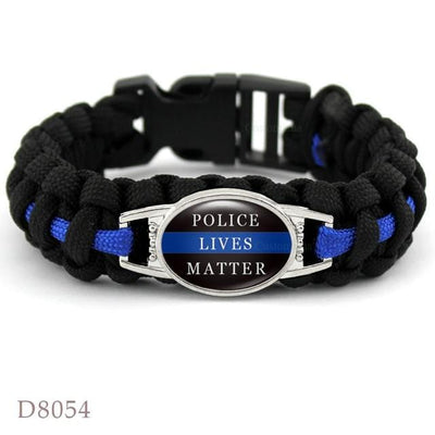 BigProStore Survival Paracord Thin Blue Line Bracelet Police Law Enforcement Gift Option#7-D8054