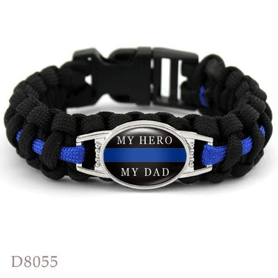 BigProStore Survival Paracord Thin Blue Line Bracelet Police Law Enforcement Gift Option#8-D8055