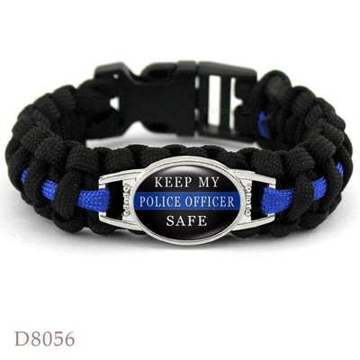 BigProStore Survival Paracord Thin Blue Line Bracelet Police Law Enforcement Gift Option#9-D8056
