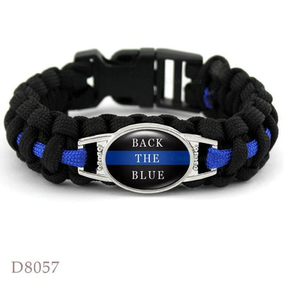 BigProStore Survival Paracord Thin Blue Line Bracelet Police Law Enforcement Gift Option#10-D8057