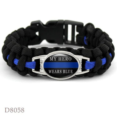 BigProStore Survival Paracord Thin Blue Line Bracelet Police Law Enforcement Gift Option#11-D8058