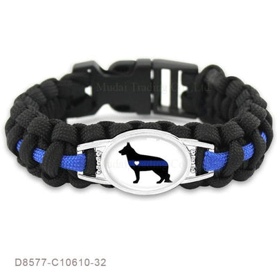 BigProStore Survival Paracord Thin Blue Line Bracelet Police Law Enforcement Gift Option#16-D8577