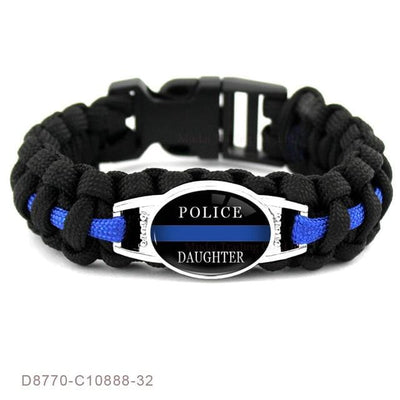 BigProStore Survival Paracord Thin Blue Line Bracelet Police Law Enforcement Gift Option#17-D8770