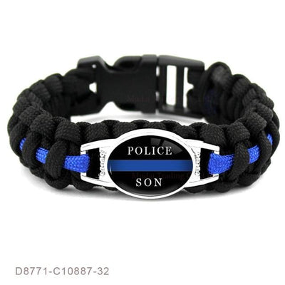 BigProStore Survival Paracord Thin Blue Line Bracelet Police Law Enforcement Gift Option#18-D8771
