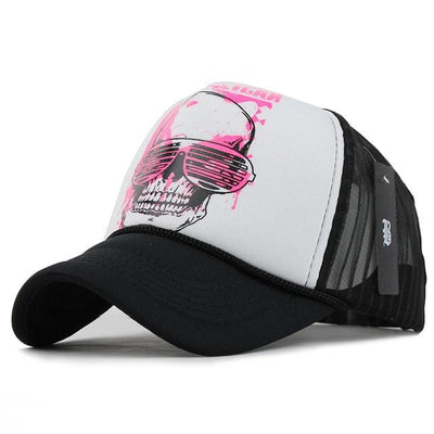 BigProStore Pink Skull Baseball Cap Men Women Mesh Trucker Hat Awesome Gift Idea Pink Skull White Hat