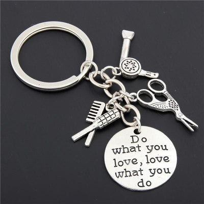 BigProStore Hairstylist Keychain Comb Hair Dryer Scissors Hair Stylist Gifts Idea Keychain