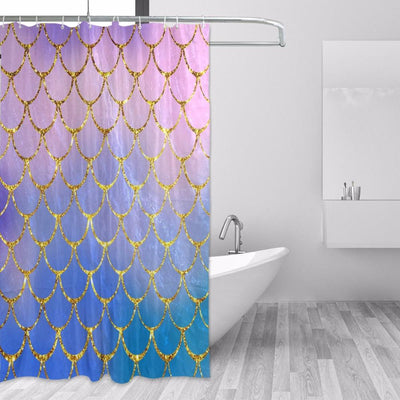BigProStore Mermaid Scales Shower Curtain Modern Ocean Fish Scale Bathroom Curtain Yellow / 48 x 72in Shower Curtain