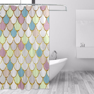 BigProStore Mermaid Scales Shower Curtain Modern Ocean Fish Scale Bathroom Curtain Light Yellow / 48 x 72in Shower Curtain