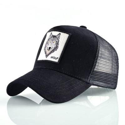 BigProStore Fashion Embroidery Baseball Cap Men Women Snapback Mesh Trucker Hats Wolf Black Hat