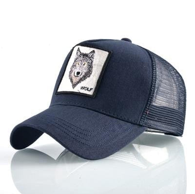 BigProStore Fashion Embroidery Baseball Cap Men Women Snapback Mesh Trucker Hats Wolf Blue Hat