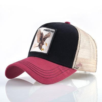 BigProStore Fashion Embroidery Baseball Cap Men Women Snapback Mesh Trucker Hats Eagle Red Opt2 Hat