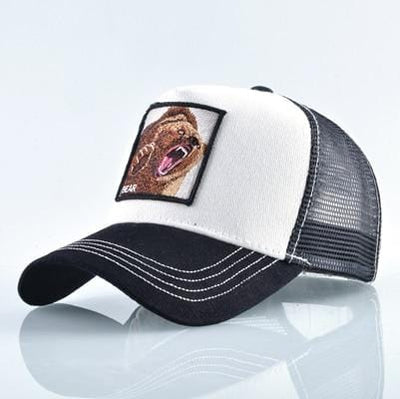 BigProStore Fashion Embroidery Baseball Cap Men Women Snapback Mesh Trucker Hats Bear White Hat