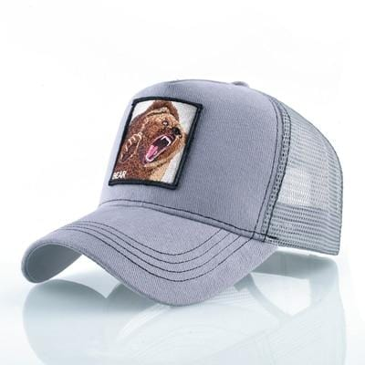BigProStore Fashion Embroidery Baseball Cap Men Women Snapback Mesh Trucker Hats Bear Gray Hat