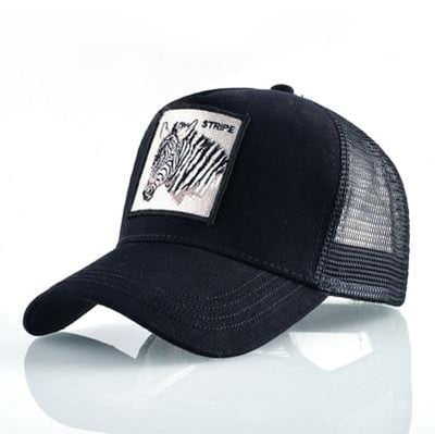 BigProStore Fashion Embroidery Baseball Cap Men Women Snapback Mesh Trucker Hats Zebra Black Hat
