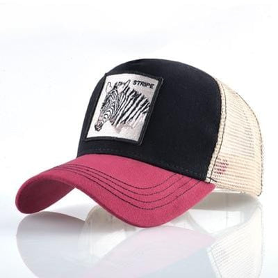 BigProStore Fashion Embroidery Baseball Cap Men Women Snapback Mesh Trucker Hats Zebra Red Opt2 Hat