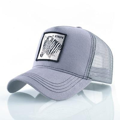 BigProStore Fashion Embroidery Baseball Cap Men Women Snapback Mesh Trucker Hats Zebra Gray Hat
