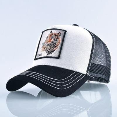 BigProStore Fashion Embroidery Baseball Cap Men Women Snapback Mesh Trucker Hats Tiger White Hat
