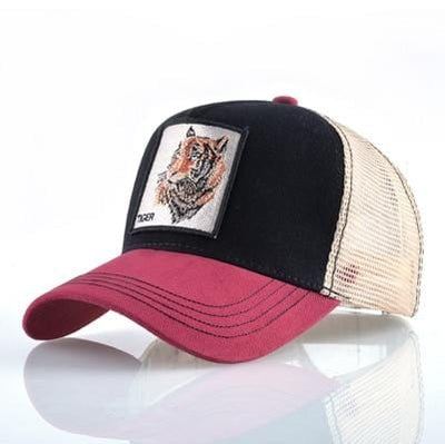 BigProStore Fashion Embroidery Baseball Cap Men Women Snapback Mesh Trucker Hats Tiger Red Opt2 Hat