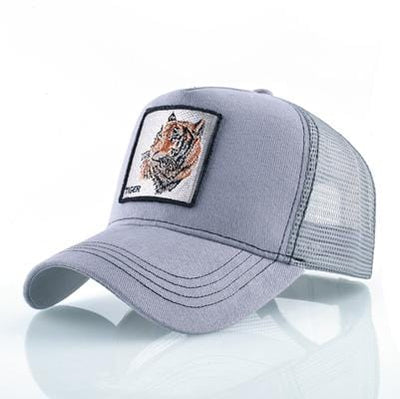 BigProStore Fashion Embroidery Baseball Cap Men Women Snapback Mesh Trucker Hats Tiger Gray Hat
