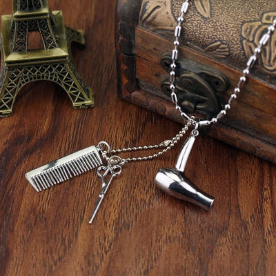 BigProStore Hairstylist Gift Idea Necklace With Hair Dryer Scissors Comb Pendants Necklace