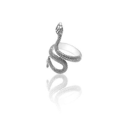 BigProStore Snake Ring Punk Style Gothic Black Silver Snake Jewelry Men Women Gift Silver / Resizable Ring