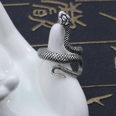 BigProStore Snake Ring Punk Style Gothic Black Silver Snake Jewelry Men Women Gift Ring