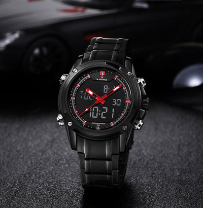 BigProStore Thin Red Line Firefighter Watch Waterproof Military Firemen Wristwatch Black Red Wristwatch