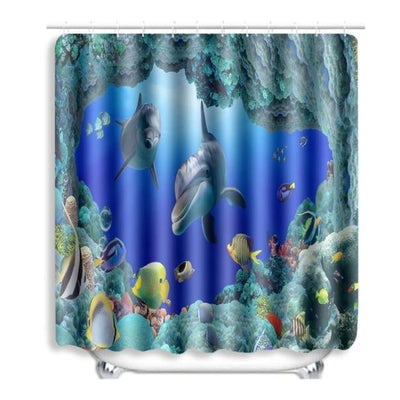 BigProStore Sea Turtle Shower Curtain Cool Beach Themed Tortoise Bathroom Curtains 1pc Dolphin Curtain - 72 x 72in Shower Curtain