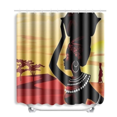 BigProStore Pretty Black Girl Shower Curtain African American Bathroom Accessories 1pc Afro Girl Curtain - 72 x 72in Shower Curtain