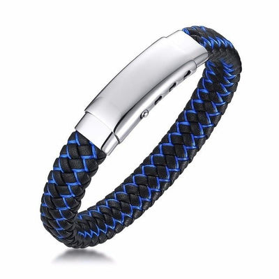 BigProStore Fashion Thin Blue Line Bracelet Adjustable Police Officer Wristband Blank Bracelet