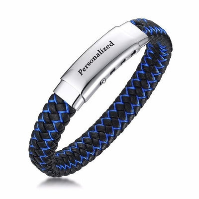 BigProStore Fashion Thin Blue Line Bracelet Adjustable Police Officer Wristband Custome Engrave Option