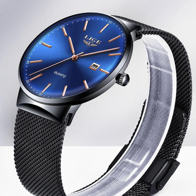 BigProStore Fashion Men Watch Waterproof Ultra Thin Blue Police Wristwatch Gift Blue Black Wristwatch