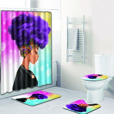 BigProStore Pretty Black Girl Shower Curtain Set Cool African Bathroom Accessories Set 4pcs - Purple Hair Afro Girl Opt#1 Shower Curtain