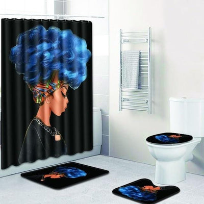 BigProStore Pretty Black Girl Shower Curtain Set Cool African Bathroom Accessories Set 4pcs - Blue Hair Afro Girl Opt#1 Shower Curtain