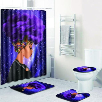 BigProStore Pretty Black Girl Shower Curtain Set Cool African Bathroom Accessories Set 4pcs - Purple Hair Afro Girl Opt#2 Shower Curtain